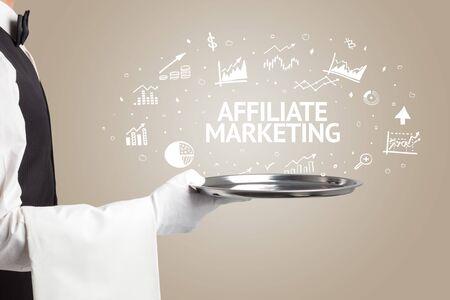 Waiter serving business idea concept with AFFILIATE MARKETING inscription