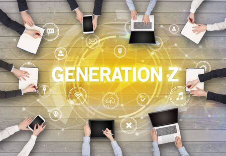 Group of people having a meeting with GENERATION Z insciption, social networking concept Фото со стока