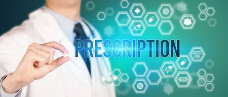 Close-up of a doctor giving you a pill with PRESCRIPTION inscription, medical concept