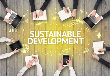 Group of Busy People Working in an Office with SUSTAINABLE DEVELOPMENT inscription, succesfull business concept