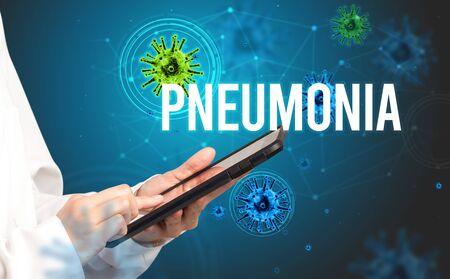 doctor prescribes a prescription with PNEUMONIA inscription, pandemic concept