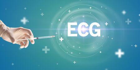 Syringe needle with virus vaccine and ECG abbreviation, antidote concept