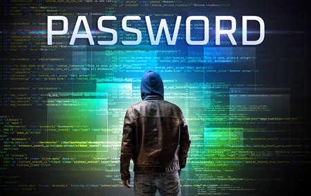 Faceless hacker with PASSWORD inscription on a binary code background Reklamní fotografie