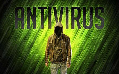 Mysterious man with ANTIVIRUS inscription, online security concept Reklamní fotografie