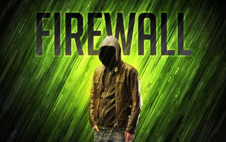 Mysterious man with FIREWALL inscription, online security concept Reklamní fotografie
