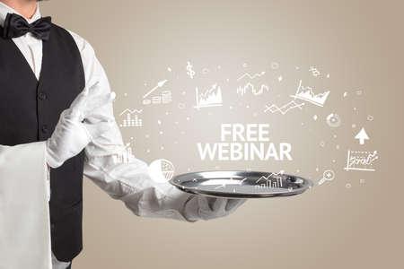 Waiter serving business idea concept with FREE WEBINAR inscription