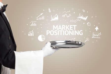 Waiter serving business idea concept with MARKET POSITIONING inscription