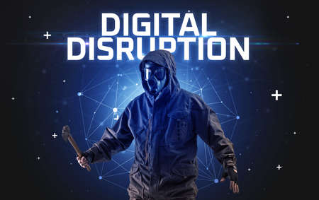 Mysterious hacker with DIGITAL DISRUPTION inscription, online attack concept inscription, online security concept