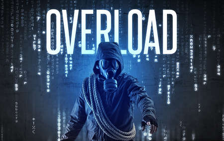 Faceless hacker with OVERLOAD inscription, hacking concept