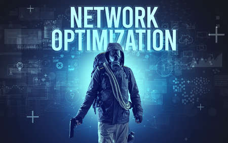 Faceless man with NETWORK OPTIMIZATION inscription, online security concept