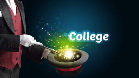 Magician is showing magic trick with College inscription, educational concept