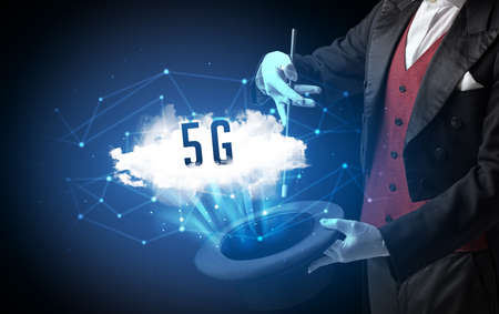 Magician is showing magic trick with 5G abbreviation, modern tech concept