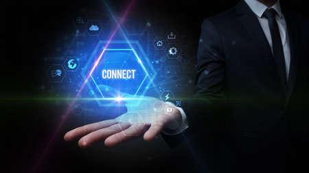 Man hand holding CONNECT inscription, social media concept