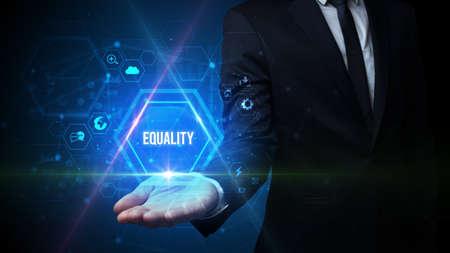 Man hand holding EQUALITY inscription, social media concept