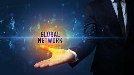 Elegant hand holding GLOBAL NETWORK inscription, social networking concept