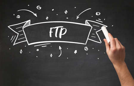 Hand drawing FTP abbreviation with white chalk on blackboard