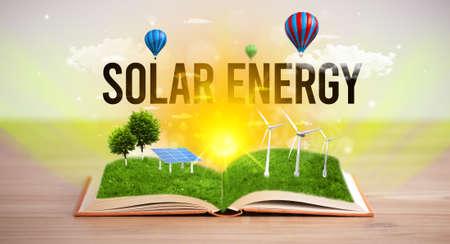 Open book with SOLAR ENERGY inscription, renewable energy concept