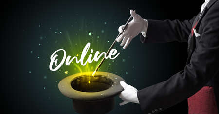 Magician is showing magic trick with Online inscription, traveling concept