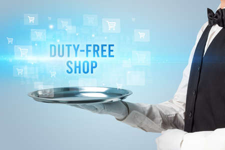 Waiter serving DUTY-FREE SHOP inscription, online shopping concept