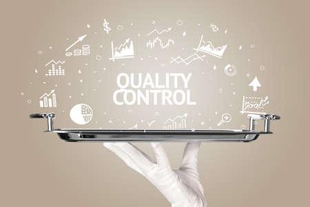 Waiter serving business idea concept with QUALITY CONTROL inscription