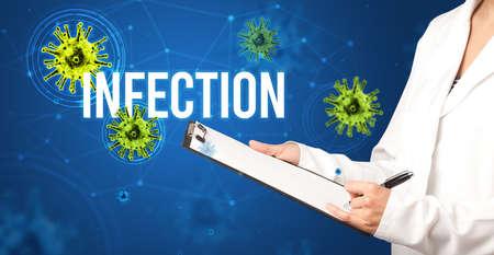 doctor prescribes a prescription with INFECTION  inscription, pandemic concept Zdjęcie Seryjne