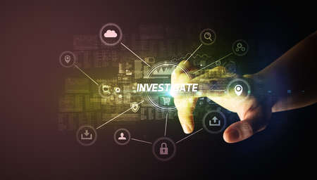 Hand touching INVESTIGATE inscription, Cybersecurity concept 스톡 콘텐츠