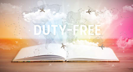 Open book with DUTY-FREE inscription, vacation concept