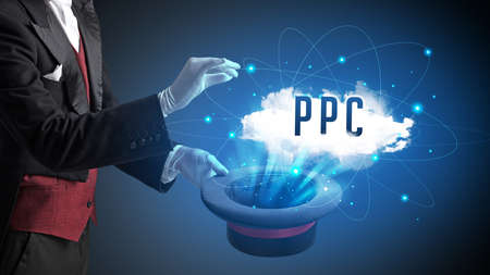 Magician is showing magic trick with PPC abbreviation, modern tech concept