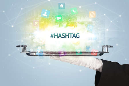 Waiter serving social networking concept with #HASHTAG inscription Stockfoto