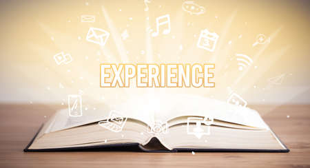 Opeen book with EXPERIENCE inscription, business concept