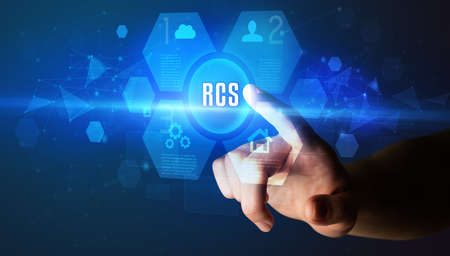 Hand touching RCS inscription, new technology concept Stock fotó