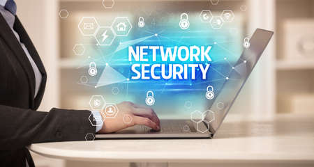 NETWORK SECURITY inscription on laptop, internet security and data protection concept, blockchain and cybersecurity Reklamní fotografie