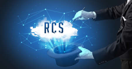 Magician is showing magic trick with RCS abbreviation, modern tech concept Stock fotó