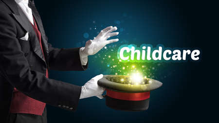Magician is showing magic trick with Childcare inscription, educational concept