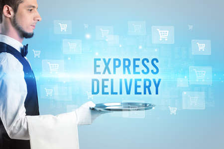 Waiter serving EXPRESS DELIVERY inscription, online shopping concept