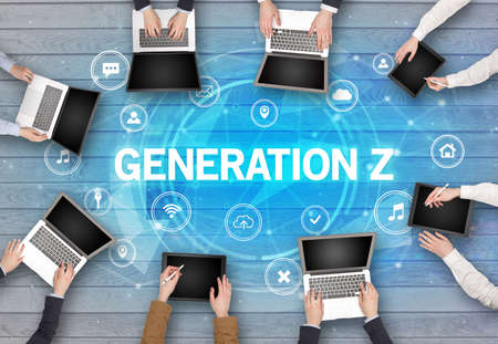 Group of people having a meeting with GENERATION Z insciption, social networking concept
