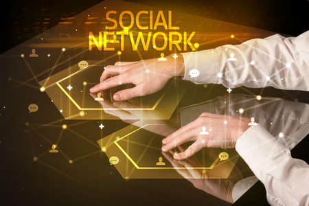 Navigating social networking with SOCIAL NETWORK inscription, new media concept