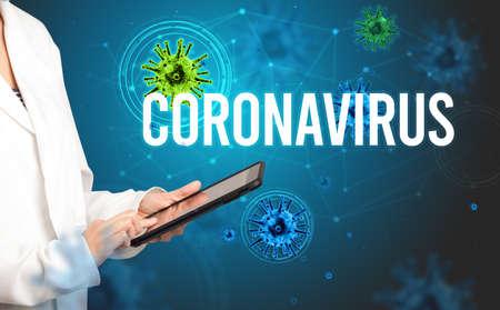 doctor prescribes a prescription with CORONAVIRUS inscription, pandemic concept Reklamní fotografie