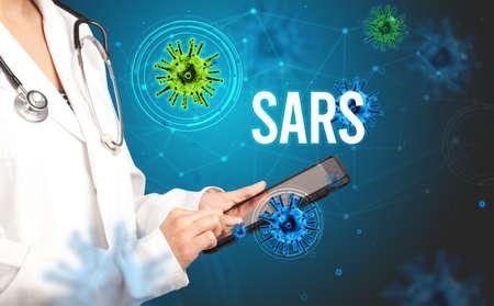 doctor prescribes a prescription with SARS inscription, pandemic concept