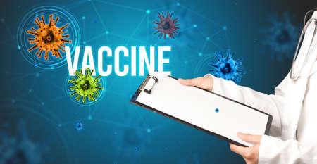doctor prescribes a prescription with VACCINE inscription, pandemic concept