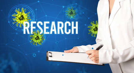 doctor prescribes a prescription with RESEARCH inscription, pandemic concept