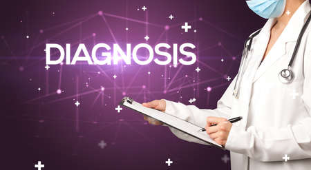 Doctor fills out medical record with DIAGNOSIS inscription, medical concept