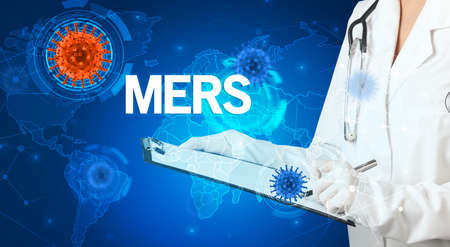 Doctor fills out medical record with MERS inscription, virology concept