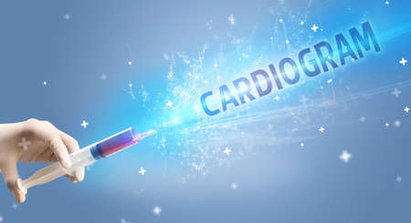 Syringe, medical injection in hand with CARDIOGRAM inscription, medical antidote concept