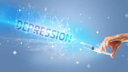 Syringe, medical injection in hand with DEPRESSION inscription, medical antidote concept