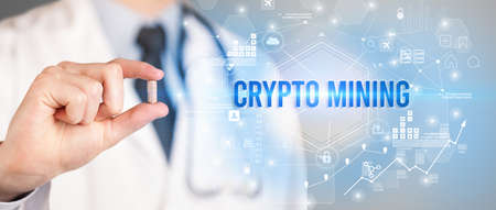 Doctor giving a pill with CRYPTO MINING inscription, new technology solution concept
