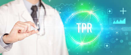 Close-up of a doctor giving you a pill with TPR abbreviation, virology concept