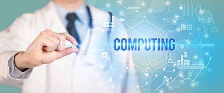 Doctor giving a pill with COMPUTING inscription, new technology solution concept