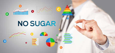 Nutritionist giving you a pill with NO SUGAR inscription, healthy lifestyle concept