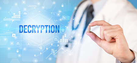 Doctor giving a pill with DECRYPTION inscription, new technology solution concept